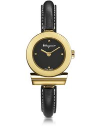 Ferragamo - Gancino Gold Ip Stainless Steel And Black Leather Strap Women's Watch - Lyst