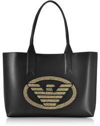 Emporio Armani Signature Medium Tote Bag - Black