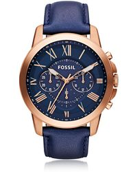 Fossil - Grant Chronograph Rose Gold Tone Stainless Steel Case And Navy Blue Leather Strap Men's Watch - Lyst