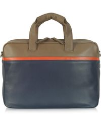Giorgio Fedon Life File Color Block Leather Briefcase - Blue