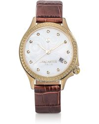 Lancaster Goccia Gold Tone/brown Croco Stainless Steel Watch