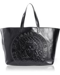 Balmain - Black Leather Signature Shopping Bag - Lyst