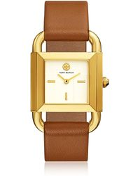 Tory Burch Phipps Luggage Leather Gold Tone Watch - Métallisé