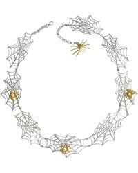 Bernard Delettrez - Bronze Spiders On Silver Web Necklace - Lyst