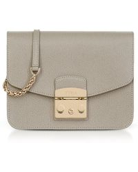 Furla - Sand Lizard Printed Leather Metropolis Small Crossbody Bag - Lyst