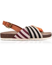 Tory Burch - Corey Multi Patchwork Stripe Tech Knit Fabric And Leather Flatform Sandals - Lyst