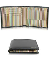 Paul Smith - Black Leather Signature Stripe Interior Men's Billfold Wallet w/Coin Pocket - Lyst
