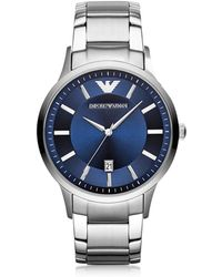 Emporio Armani - Silver Tone Stainless Steel Men's Watch W/blue Dial - Lyst