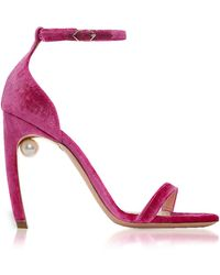 Nicholas Kirkwood Fuxia Velvet 105mm Mira Pearl Sandals - Rosa