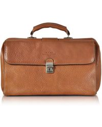 Robe Di Firenze Doctor Bag Media in Pelle Castagna - Marrone