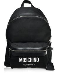 Moschino Logo Rucksack aus Nylon in schwarz