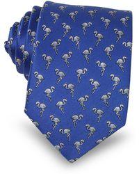 Lanvin - Flamingo Print Silk Men's Narrow Tie - Lyst