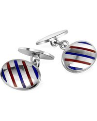 FORZIERI Oval Striped Sterling Silver Double Sided Cufflinks - Metallic