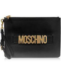 Moschino Schwarze Leder-Clutch mit strassverziertem Logo