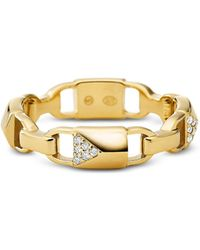Michael Kors Mercer Link Anello in Argento Sterling Placcato Gold Pavé - Metallizzato
