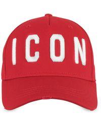 DSquared² Embroidered Icon Logo Cotton Gabardine Baseball Cap - Rot