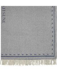 Maison Kitsuné Navy and Camel Fox Plaid Wool Wrap - Blau