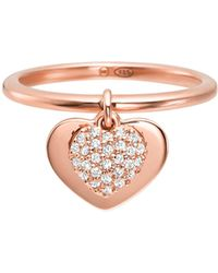 Michael Kors Love Heart Rose Gold-plated Sterling Silver Ring - Metallic
