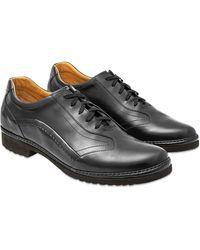 Pakerson Italienische Schnürschuhe aus Leder von Hand gearbeitet in schwarz
