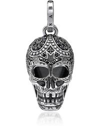 Thomas Sabo Blackened 925 Sterling Silver and Zirconia Maori Skull Pendant - Mettallic