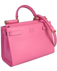 Dolce & Gabbana Sicily 62 Large Leather Tote Bag - Pink