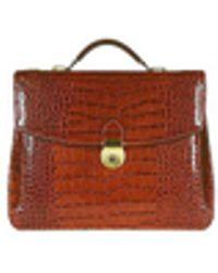 L.A.P.A. - Cognac Croco-embossed Double Gusset Briefcase - Lyst