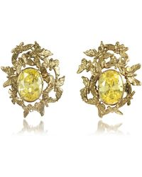 Bernard Delettrez - Butterflies Bronze Earrings W/yellow Zircons - Lyst