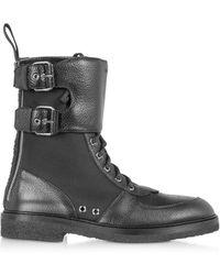 Balmain Maddox Ranger Boots in Pelle Nera e Nylon da Uomo - Nero