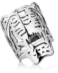 KENZO Sterling Silver Oversized Tiger Ring - Métallisé