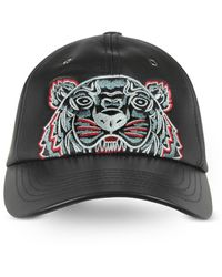 KENZO Black Leather Tiger Baseball Cap - Schwarz