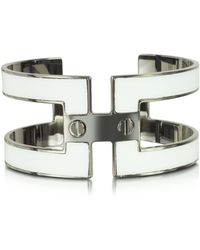 Pluma - White Brass Double Viti Small Cuff In Fumoso - Lyst