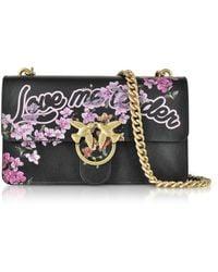 Pinko - Love Me Tender Flowers Black Eco Leather Shoulder Bag - Lyst