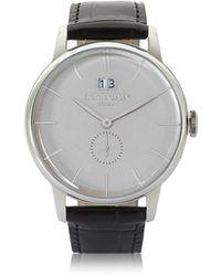 LOCMAN - 1960 Silver Stainless Steel Men's Watch W/black Croco Embossed Leather Strap - Lyst