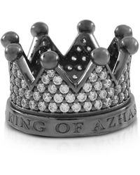 Azhar Re Silver And Zircon Crown Ring - Black