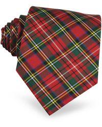 FORZIERI Corbata de Seda a Cuadros Escoceses - Rojo
