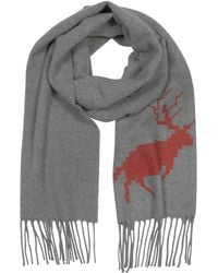 DSquared² Canada Hiking Gray Wool and Cashmere Men's Long Scarf w/Fringes - Grau