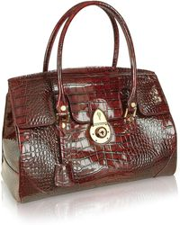 L.A.P.A. - Ruby Red Croco Stamped Patent Leather Satchel Bag - Lyst