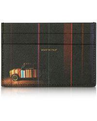 Paul Smith Black Mini Print Saffiano Leather Credit Card Holder - Schwarz