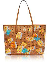 MCM - Essential Visetos Floral Print Cognac Top Zip Medium Tote Bag - Lyst