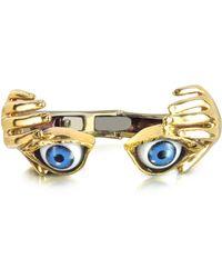 Bernard Delettrez - Bronze Hand Stiff Bracelet With Eye - Lyst