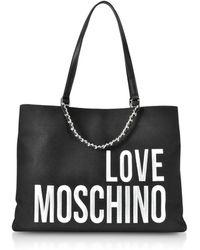 Love Moschino - Canvas Tote Bag W/ Maxi Logo - Lyst