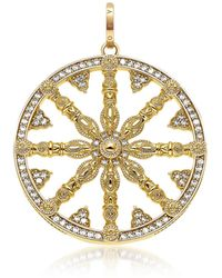 Thomas Sabo Yellow Gold Plated Sterling Silver Round Pendant w/White Cubic Zirconia - Mettallic
