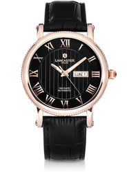 Lancaster Monarch Automatic Gold Tone Embossed Leather Watch - Schwarz