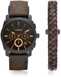 Fossil Machine Chronograph Dark Brown Leather Men's Watch and Bracelet Box Set - Schwarz