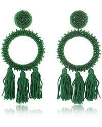 Oscar de la Renta Orecchini a Clip con perline - Verde