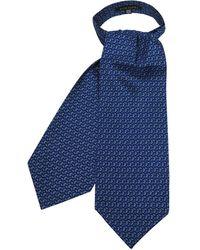 FORZIERI Bright Blue Paisley Printed Twill Silk Ascot Tie - Azul