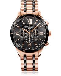 Thomas Sabo Rebel Urban Rose Gold Stainless Steel and Black Ceramic Men's Chronograph Watch - Rosa
