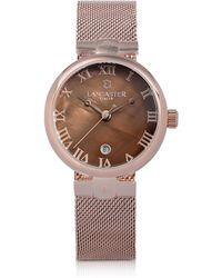 Lancaster Chimaera Rose Gold Stainless Steel Watch W/brown Dial - Pink