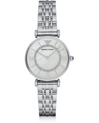 Emporio Armani T-bar Silvertone Stainless Steel Women's Watch W/mother Of Pearl And Crystals Dial - Metallic