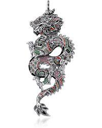 Thomas Sabo Ciondolo Dragone Cinese in Argento 925 Smaltato - Metallizzato
